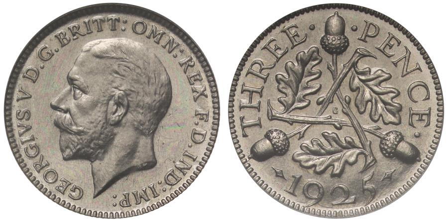 World Coins - George V 1925 Pattern Threepence struck in nickel R6 - CGS UK 93