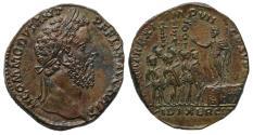 Ancient Coins - Commodus, AE Sestertius, Adlocutio scene