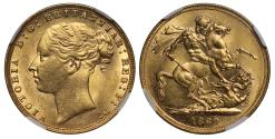 World Coins - Victoria 1880 Sovereign, St George, WW buried, short tail, trace of BP, MS62