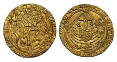 Ancient Coins - Edward IV second reign Angel initial mark Cinquefoil