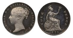 World Coins - Victoria 1839 proof Groat plain edge CGS UNC 85