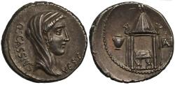 Ancient Coins - Q. Cassius Longinus, Silver Denarius