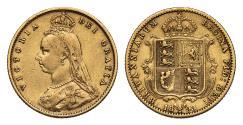 World Coins - Victoria 1893 Jubilee head Half-Sovereign Melbourne DISH M507 low shield Rare