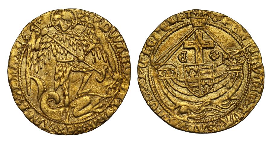World Coins - Edward IV second reign Angel initial mark Cinquefoil