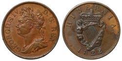 World Coins - Ireland, George IV 1822 copper Halfpenny