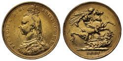 World Coins - Victoria 1887 S Sovereign DISH S5 R4