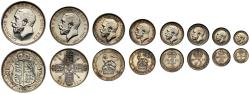 World Coins - George V 1911 silver proof set, Crown to Maundy Penny, 8 pieces with case