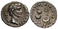 Ancient Coins - Augustus, Silver Denarius, Mint of Rome