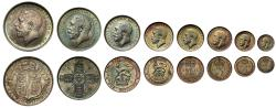 World Coins - George V 1911 silver proof Set of 8 - Crown to Maundy Penny, cased