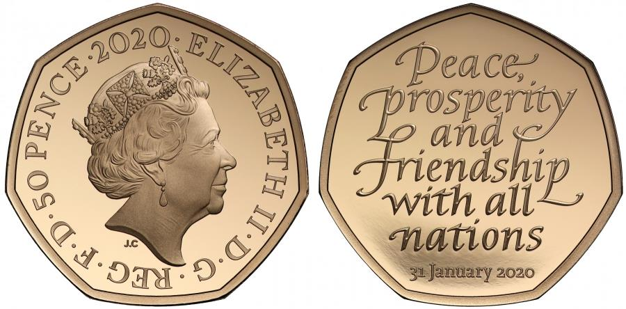 World Coins - * Elizabeth II 2020 gold proof Brexit Fifty-Pence