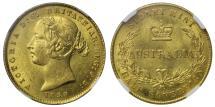 World Coins - Australia, Victoria 1858 Sydney Half-Sovereign MS62+