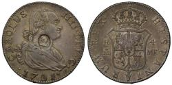 World Coins - George III oval countermark on Spain 1791 MF 4-Reales, Madrid mint