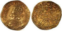 World Coins - Charles I gold Half-Unite 1643 Oxford mint, ten shilling piece