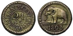 World Coins - Ceylon, George III 1803 silver 24-Stivers.
