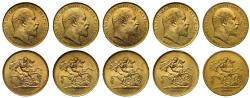 World Coins - A group of Five, Edward VII 1902 gold Five-Pounds