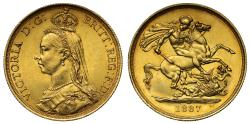 World Coins - Victoria 1887 Two-Pounds, Golden Jubilee, Dyer 2b/2 variety