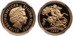 World Coins - Elizabeth II 1999 proof Half-Sovereign PF67 ULTRA CAMEO