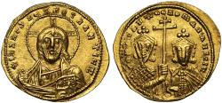 Ancient Coins - Constantine VII and Romanus II gold Solidus, Constantinople