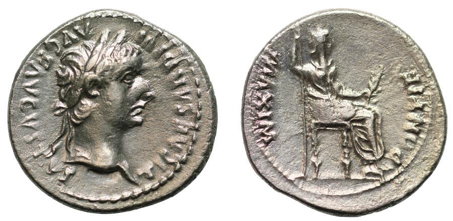 Ancient Coins - Tiberius, Silver Denarius