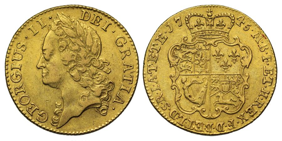 World Coins - George II 1745 Guinea, small 5 in date, intermediate head