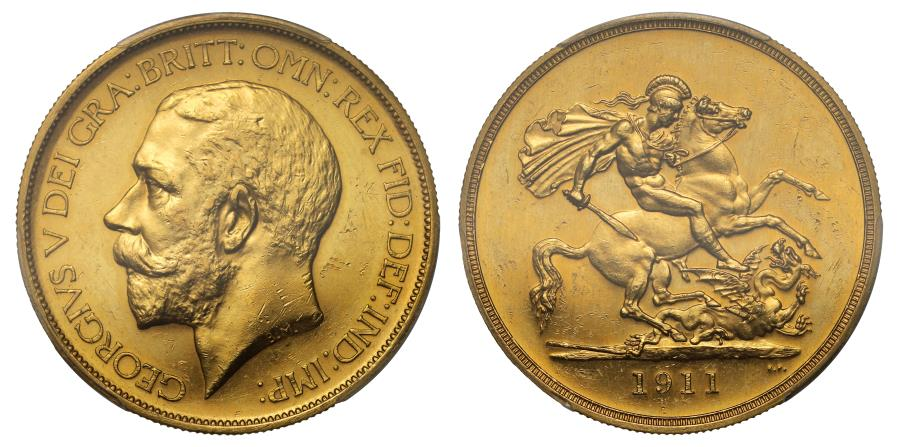 World Coins - George V 1911 proof Five Pounds PF62
