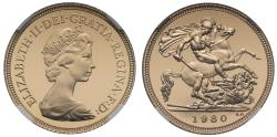World Coins - Elizabeth II 1980 proof Half-Sovereign PF69 ULTRA CAMEO