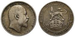 World Coins - Edward VII 1905 Shilling, the rarest date of this reign