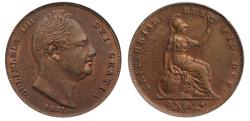 World Coins - William IV 1831 copper Farthing, first reverse CGS75