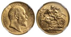 World Coins - Edward VII 1904 Sovereign Perth mint, MS62