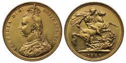 World Coins - Victoria 1887 M Sovereign DISH M1 R5
