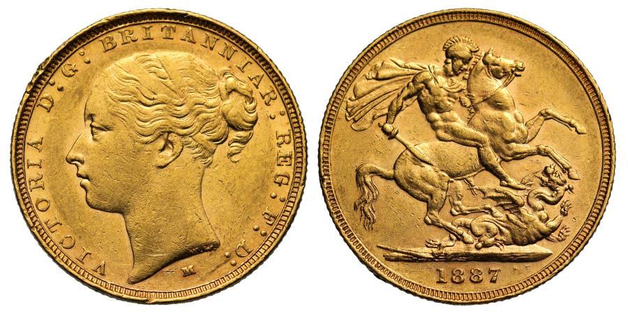 World Coins - Victoria 1887 M Sovereign, Melbourne Mint, St George reverse
