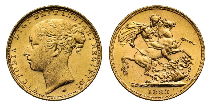World Coins - Victoria 1883 M Sovereign, W.W. raised and complete, St George reverse