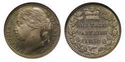 World Coins - Victoria 1868 cupro-nickel proof Third-Farthing CGS UNC 85