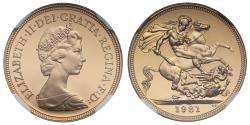World Coins - Elizabeth II 1981 proof Sovereign PF69 ULTRA CAMEO