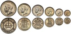 World Coins - George V 1927 cased silver proof Set of the new coinage, x6 coins