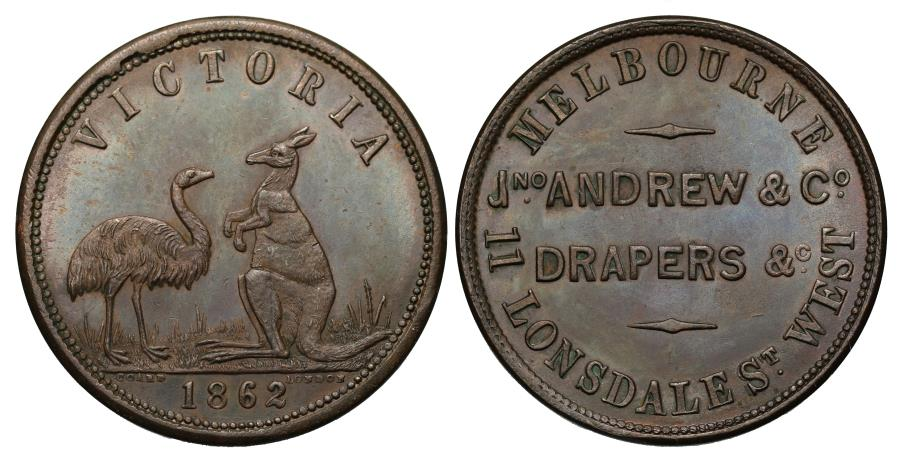 World Coins - Australia, tokens, Melbourne Copper Halfpenny 1862 JNO ANDREWS & CO.