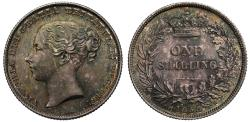 World Coins - Victoria 1858 Shilling, 8 over 9 Davies dies 4+A