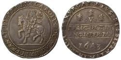 World Coins - Charles I 1643 Crown, Oxford mint, Shrewsbury obverse, 1643