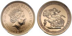 World Coins - Elizabeth II 2017 gold Five-Pounds MS70 DPL