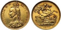 World Coins - Victoria 1887 Two-Pounds, Golden Jubilee Issue