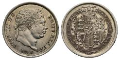 World Coins - George III 1819 Shilling, 9 struck over 8