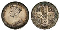 World Coins - Victoria 1847 proof silver Gothic Crown, by William Wyon