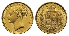 World Coins - Victoria 1850 Sovereign, 8 with 5 struck over it, Ex Bentley lot 986, extremely rare