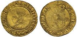 World Coins - Elizabeth I gold Half-Pound, initial mark cross crosslet