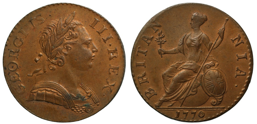 World Coins - George III 1770 Halfpenny