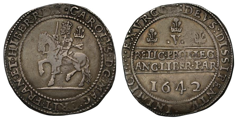 World Coins - Charles I 1642 Crown, Shrewsbury Mint