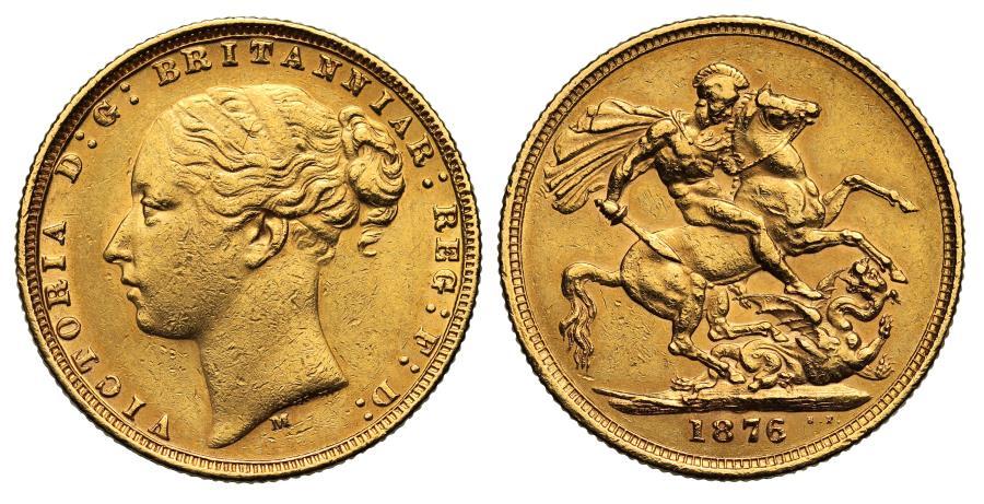 World Coins - Victoria 1876 M Sovereign