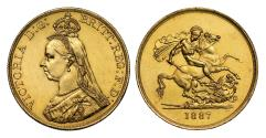 World Coins - Victoria 1887 Five-Pounds, Golden Jubilee issue