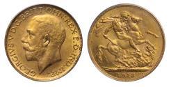 Ancient Coins - George V 1913 C Sovereign Ottawa mint
