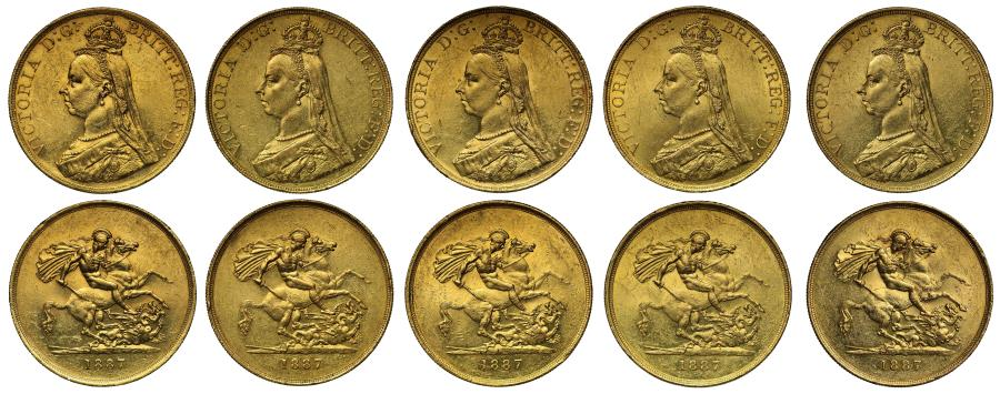 World Coins - Group of 5 Victoria 1887 Jubilee Five-Pounds